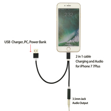Supper Hot Portable Lighting to 3.5MM Headphone Headset Jack + USB Charger 2 in 1 Charging Audio Adapter For iPhone 7 7S Plus
