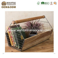 Vintage style huge wire and wood trug,space clutter free,organize storage caddy,garden decoration,keep magazine next to sofa,