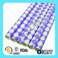 Light Purple Lilac Harlequin Paper Straws
