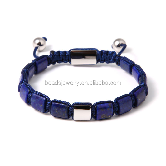 2016 Whole Sale Artificial For DIY Jewelry Making Bead Bracelet Blue Beads Mixed Sliver Square Beads Bracelet For Watch Lover