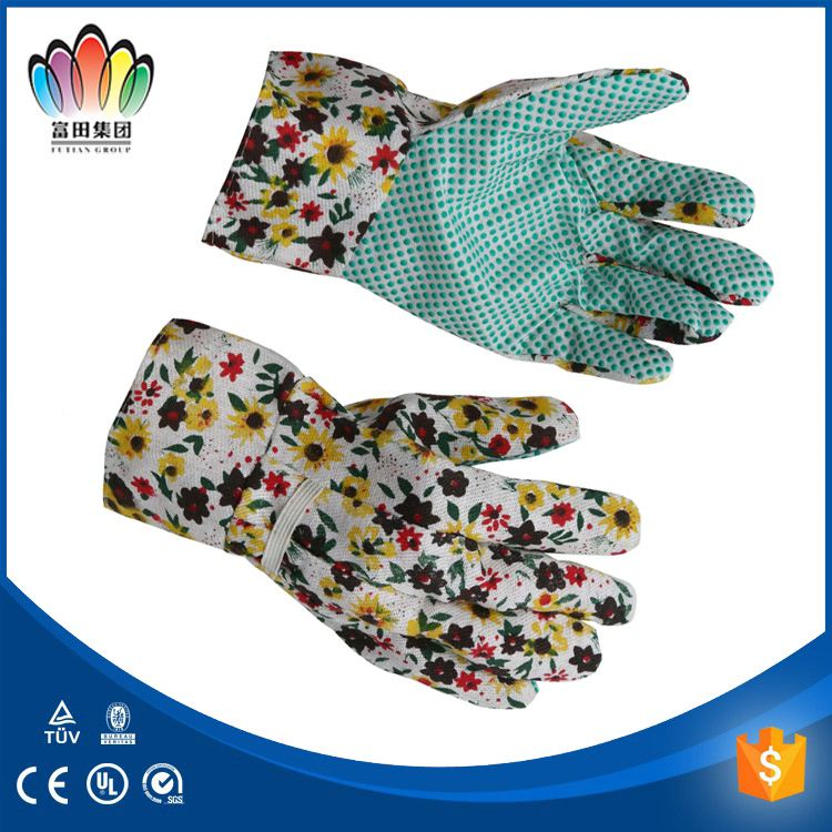 FT SAFETY Floral Print 100%Cotton Garden Working Gloves With PVC Dots