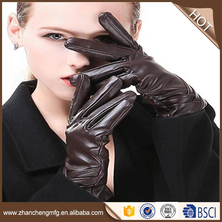 winter warm fashio goat skin leather gloves with high quality