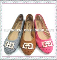 2015 Cheao Price Fashion Design Ladies PU Leather Flat Shoes