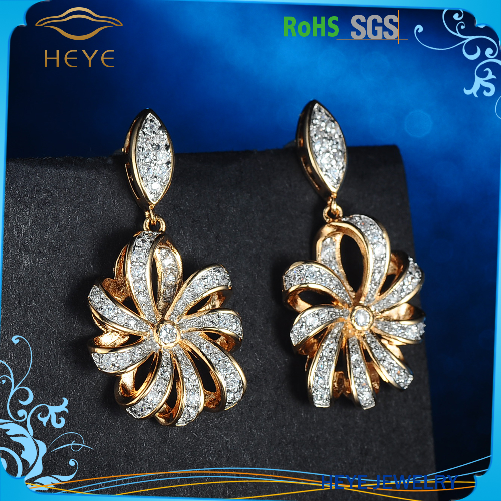 Silver earrings designs of cubic zirconia and gold plated jewelry for girls