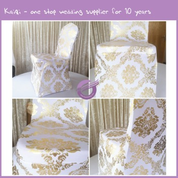 MY0006HW hot sale new design wedding banquet spandex printed gold chair covers
