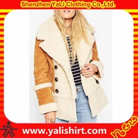 New arrival high quality fashion warm double breasted women winter faux suede shearling coat