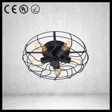 Industrial vintage style tungsten bulb ceiling fan with light