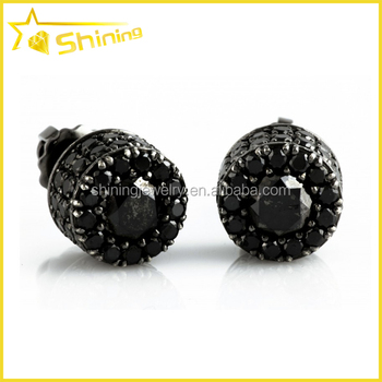 hip hop micro setting silver diamond mens black diamond earrings