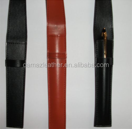 High Quality Genuine leather pen case/Pen bag with Customized Logo
