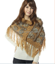 Y.ROGUSA Brand YR010 Japanese design women Hand crochet yarn and rabbit knitting fur shawl