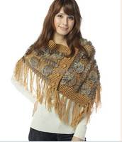 YR010 Japanese design women Hand crochet yarn and rabbit knitting fur shawl