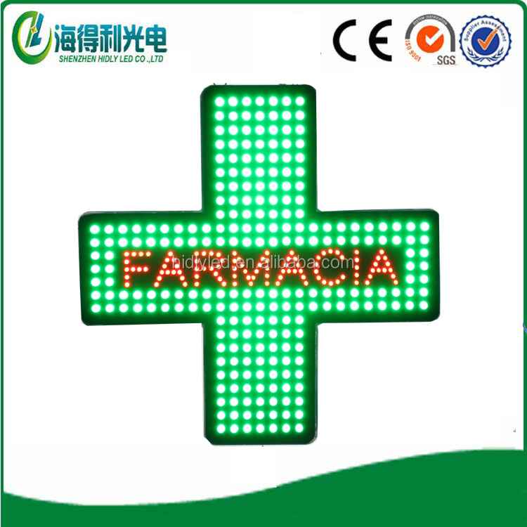 Indoor flash customed green blue color acrylic led cross display