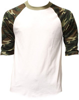 Wholesale baseball t shirt 3 4 sleeve mens raglan tee 100% cotton plain camo sleeve baseball tee