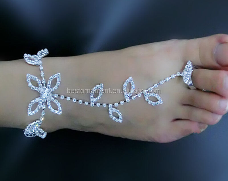 LUCKY LEAF BAREFOOT SANDAL BEACH BRIDAL ANKLET WEDDING FOOT CHAIN