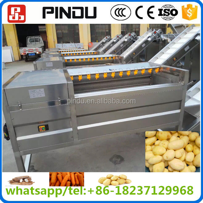 stainless steel hard brush industrial fruit root vegetable cassava potato carrot onion cleaning peeling and washing machine