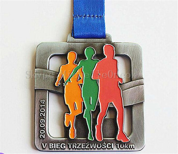 Zinc alloy gun color plating 3 colors soft enamel 3d sports medal
