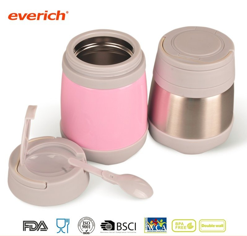 350ml 500ml vacuum insulated double wall stainless steel food container