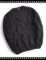 Plain Black Thick Fleece Men 100% Polyester Crew Neck Sweatshirt