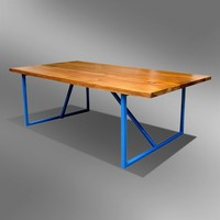 TEAK AND STEEL COMBINATION MODERN DESIGN COFFEE TABLE