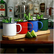 High performance 8/9CM Classic Retro Enamel mug For Camping& Travel Tea Coffee Cup Traditional Style Color