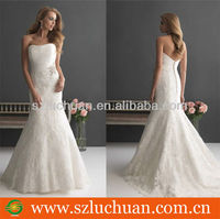 Charming mermaid strapless apppliqued wedding dresses france