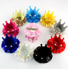 Mini Felt Glitter Crown with Sequine Flower with Clips 3D Tiara for Photography Birthday Party
