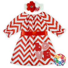 Newest Valentines Day Frock Design Dress For Baby Girl Red Chevron Party Dress Baby With Match Headband And Waistband Patterns