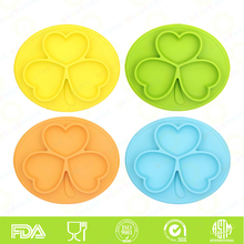 Anti-slip silicone suction placemat plate for kids children wholesale silicone placemat one piece BPA free