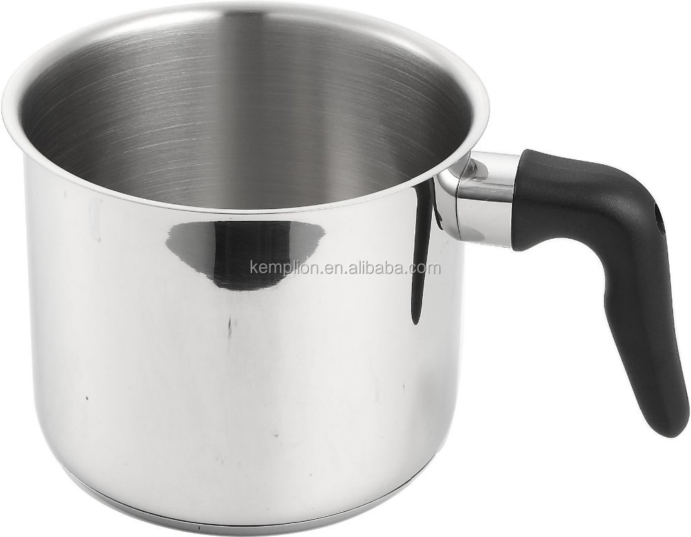 Hot selled stainless steel Milk pan 14x12cm with bakelite handle