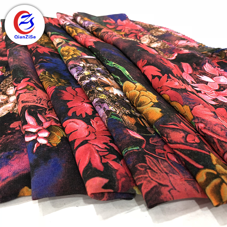 Stock a lot french <strong>thick</strong> silk dubai chiffon stock digital printed fabric