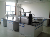 University/College laboratory center bench, dental lab work table, lab island bench with reagent shelf