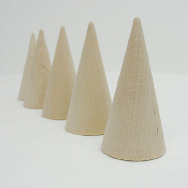 "Wooden cones 3"" tall wooden contemporary Christmas tree unfinished DIY"