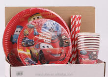 Three piece suit paper plate paper cup and straw for red cars