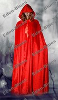 Red Velvet Cloak Hooded Cape Clubwear Wedding Wicca Medieval LARP Costume