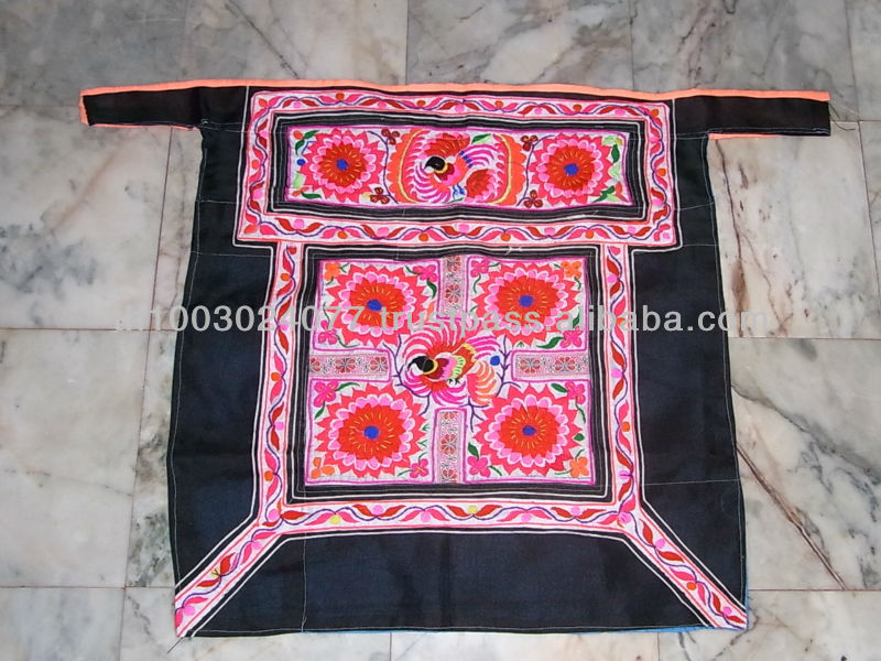 Red Six Flower Embroidered Black Vintage Baby Carrier Hmong Hill Tribe