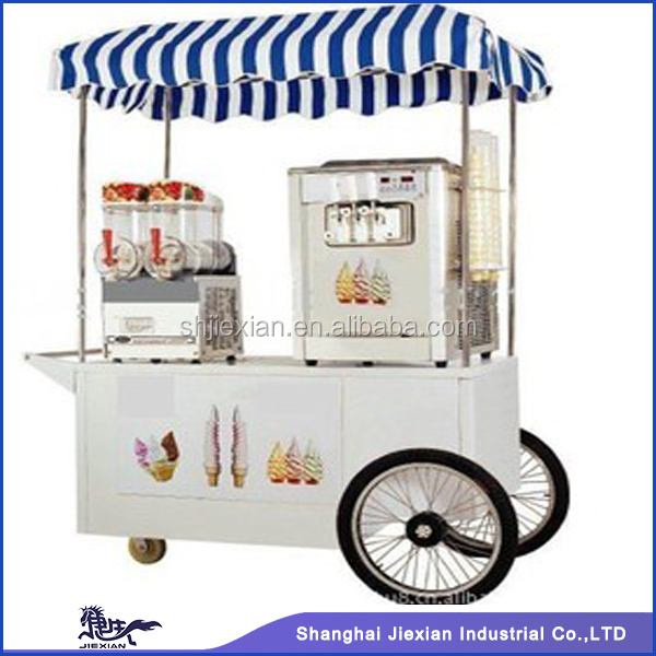 Cool Summer Mobile Commercial gelato cart for sale JX-IC160 with ice cream machine