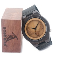 high quality vintage deer head design black wood watch bamboo watches 2016 wristwatches ZM-11