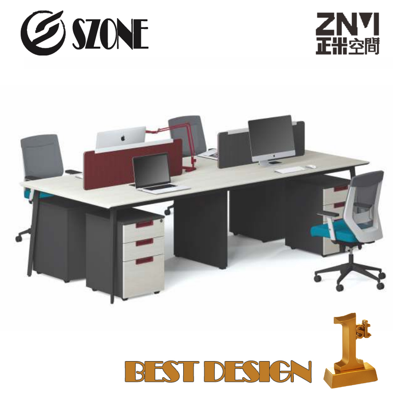 New Popular office furniture Modern 4 Person Workstation T-WD2412B/T-WD2812B with patent