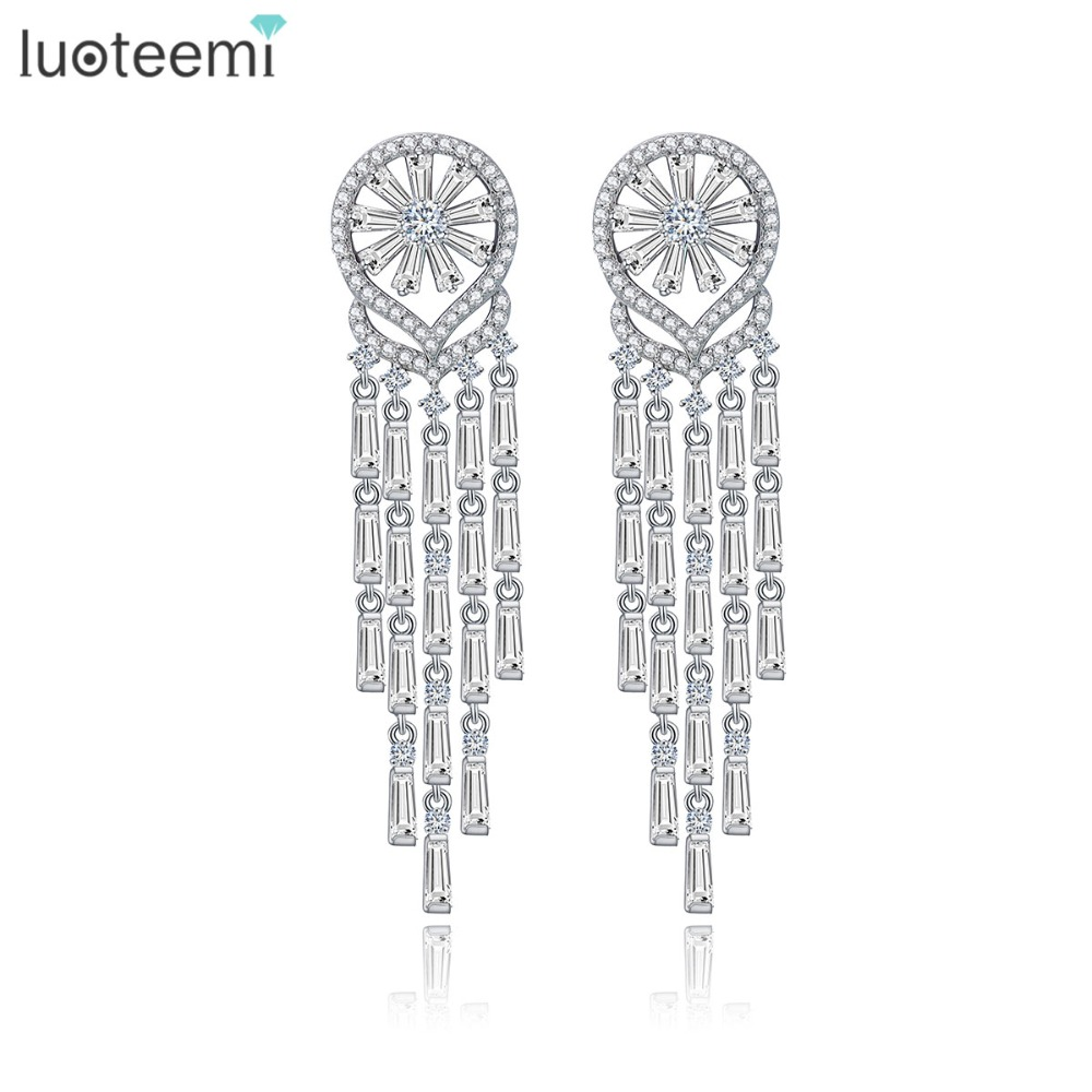 LUOTEEMI New Luxury Vintage Long Tassel 18k White Gold Plated CZ Bridal Jewellery Earrings For Women