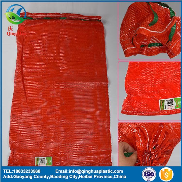 Professional supplier pp tubular knitted plastic string 20kg mesh bag 50*80 garlic roll for vegetables