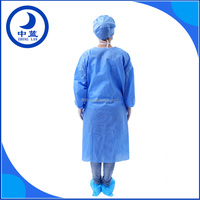 Hospital use sterile disposable surgical gown, SMS surgeon with knitted elastic
