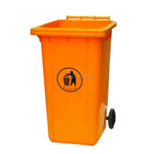 240 liter yellow hospit plastic recycling waste contain bin stand with wheels