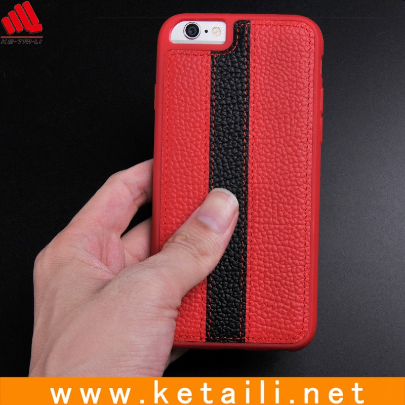 Black red genuine leather cell phone cover for iphone 6 6S, phone case supplier