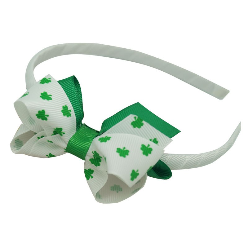Holiday Green Grosgrain Ribbon Hair band, Clover Printing Ribbon Bow Hair band HBW-1601091-6