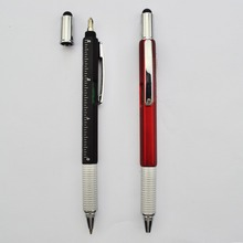 Multi function 6 In 1 Gradienter touch stylus screwdriver ruler Tool pen
