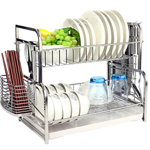 Kitchen 2 Tier Stainless steel Water Sink Dish Plate Drying Drainer Rack Holder With Tray