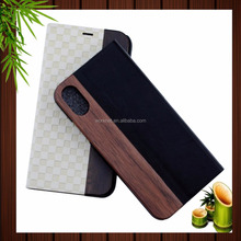top quality real Padauk wood leather phone case for iphone X, white pu leather flip cover case for iPhone X