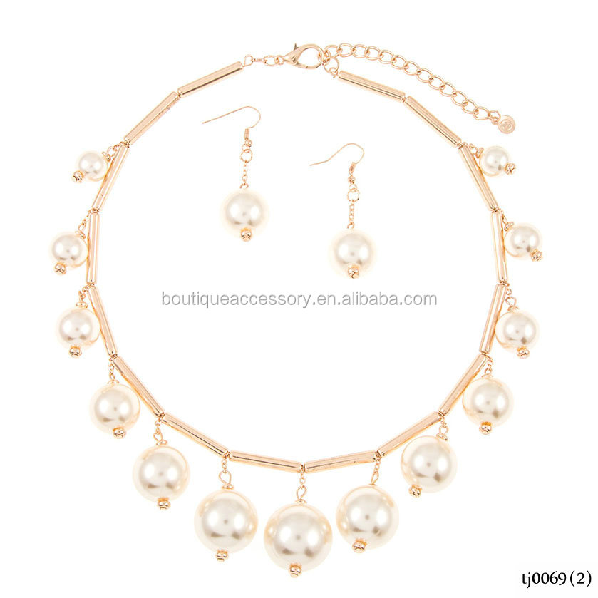 Gold Plated Dangling Faux Pearl High Collar Necklace Set
