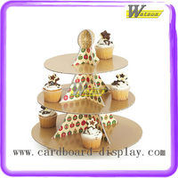 hot sale supermarket and promotion 3 tiers corrugated cupcake stand for kids party