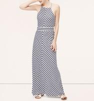 Custom design new halter neck maxi dress striped quality long ladies gown